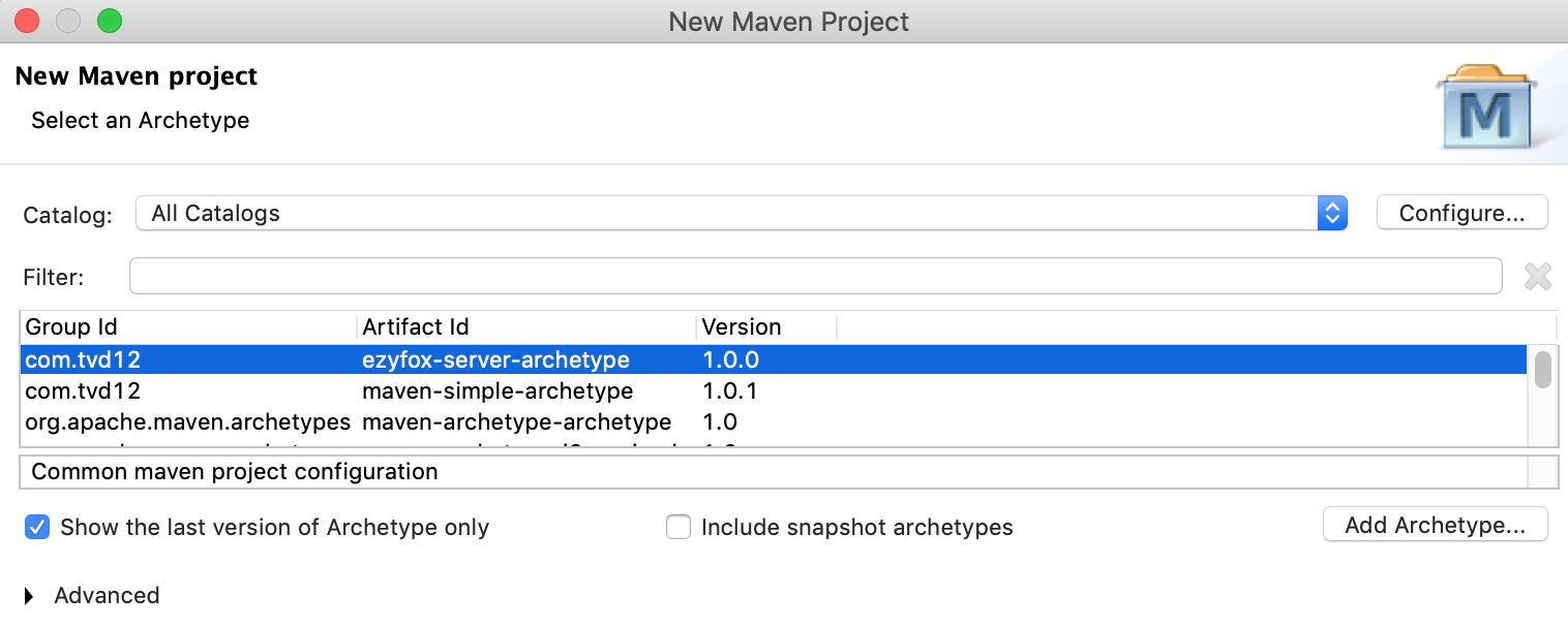 Create a maven project with ezyfox-server-archetype