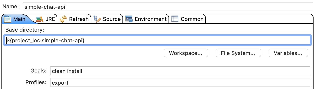 run configurations: main tab setting